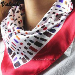 Модные атласные платки на голову или на шею 50х50 см, варианты