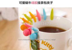 Цветная метка на чашку держатель чайного пакетика в виде улитки, набор 2 шт