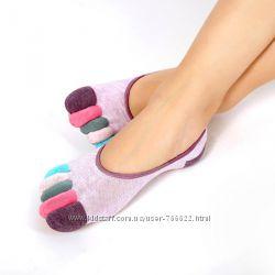 Носки для йоги и спорта, следы для дома с разноцветными пальцами р. 36-38