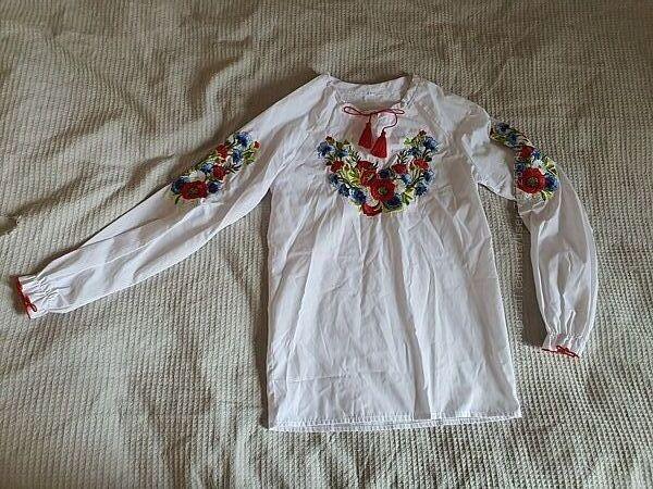 Вышиванка рубашка  8-10 лет рост 128-146 см, хлопок
