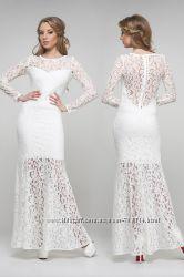 Свадебное, вечернее платье цвета слоновой кости ближе к белому