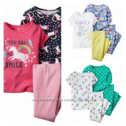 Комплект пижама 100 коттон для девочки Carters Картерс от 4 до 12 лет