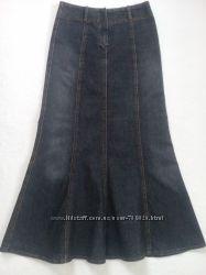 Юбка джинсовая макси, размер 44