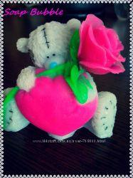 Мыло ручной работы  Тедди с сердцем и розой