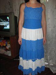 летний длинный бело-голубой сарафан новый