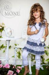 Коллекция Весна-Лето костюмчик топ с бусами, юбка и лосины MONE