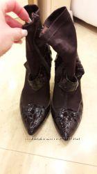 Осенние демисезонные ботинки ботильонызамша натуральная р. 35-36