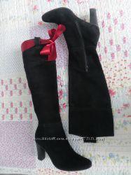 элегантные, чёрные сапоги, италия, демисезонные, нат. замш, 36 -37