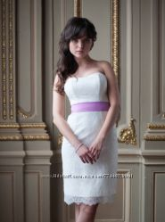 Короткое дизайнерское платье свадебное выпускное коктейльное и шляпка в под