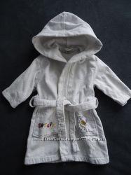 белый махровый халатик H&M 74-80 см