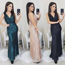 Силуэтное женское платье вечернее с паетками длина миди сверху имитация на