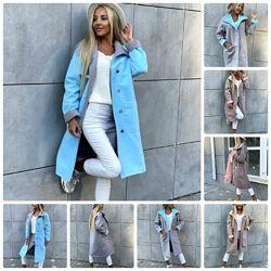 Красивое женское пальто демисезонное кашемировое на пуговицах и с накладным