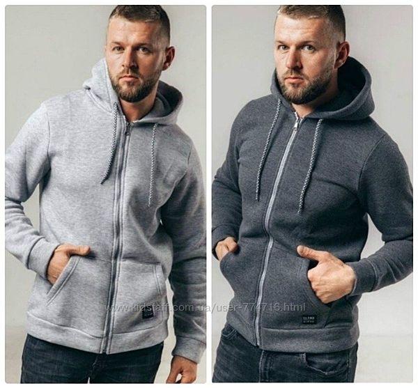 Модная мужская кофта тёплая на молнии с капюшоном и накладными карманами 2