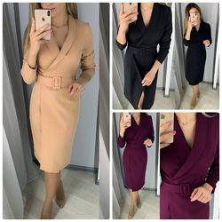 Эффектное женское платье халат на запах длина миди ремень не пришит 3 цвета