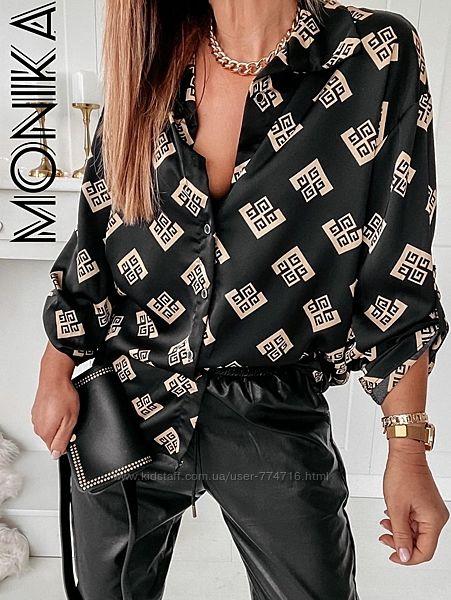 Элегантная женская рубашка свободная с красивым принтом