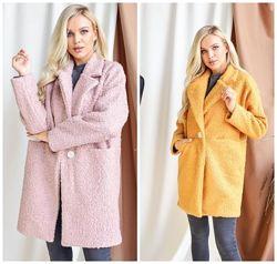 Трендовое женское пальто демисезонное мягкое застегивается на одну пуговицу