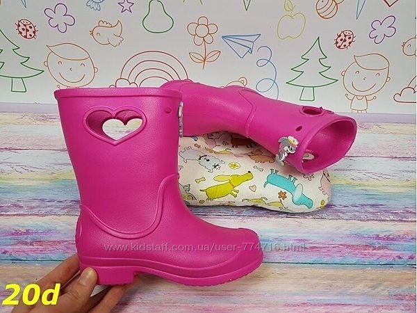 Детские резиновые сапоги непромокаемые розовые 28-35р, 20d
