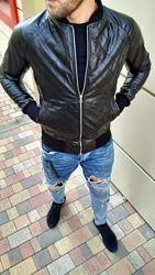 Мужская куртка бомбер стеганная ромбом, гладкие рукава
