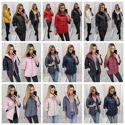 Трендовая женская демисезонная куртка автоледи прямая двухсторонняя на кноп