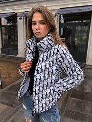 Женская куртка Диор белая демисезонная курточка весна осень экопух Dior