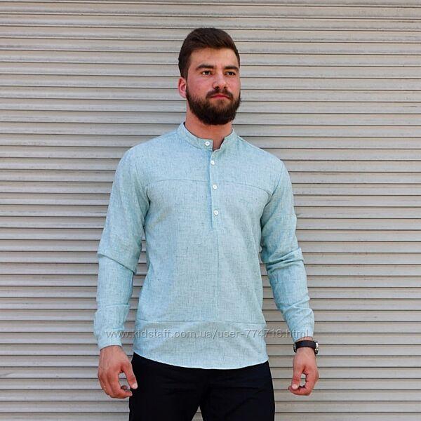 Мужская рубашка лён голубая , длинный рукав