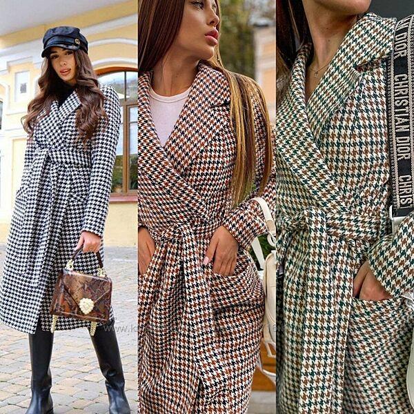 Стильное классическое пальто миди с поясом принт гусиная лапка, кашемир