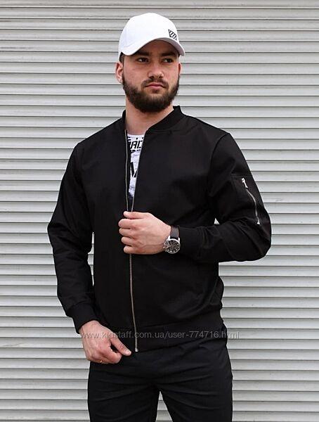 Чёрная куртка бомбер демисезон