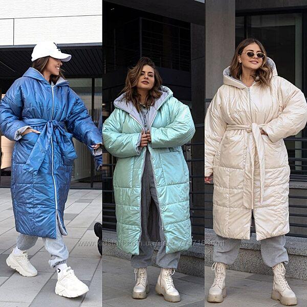 Пальто-одеяло перламутровый пуховик с поясом с аквапропиткой, синтепон 300