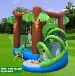 Надувной батут для детей с горкой Весёлые джунгли