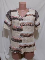 Пуловер бежевый пестрый с интересным узором декор 48-50р
