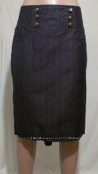Новая юбка-карандаш темно-фиолетовая клин-годе NEXT 44-46р
