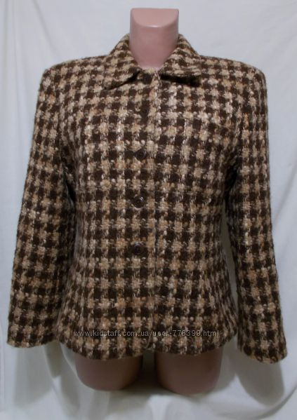 Пальто клетчатое шерстяное альпака, мохер Jones New York 44р