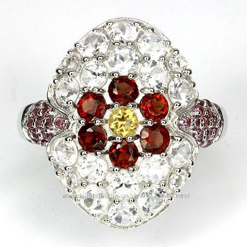Кольцо серебро 925 с натуральным топаз, гранат, цитрин арт. 047