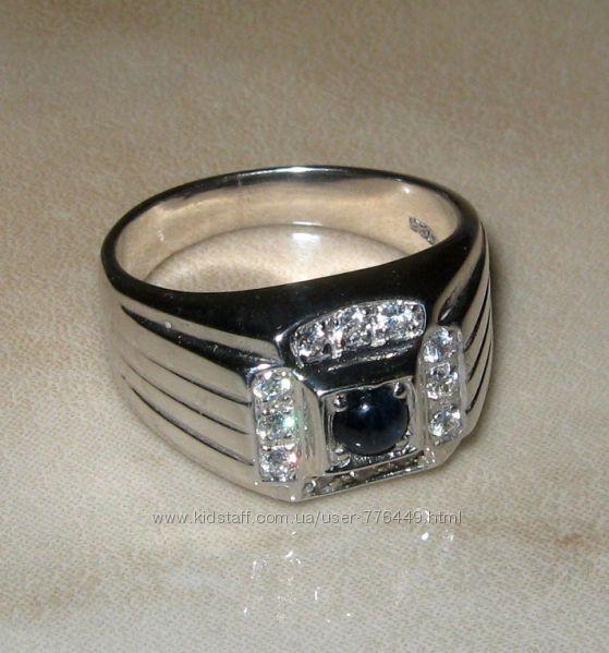 Кольцо серебро 925 позолота с натуральным сапфиром арт. 048
