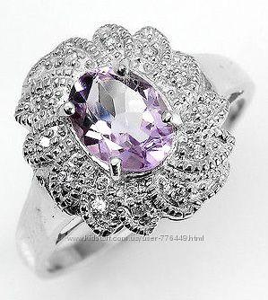 Кольцо серебро 925 позолота с натуральным аметистом арт. 050
