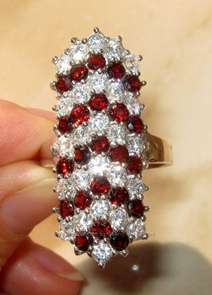 Кольцо серебро 925 позолота натуральные гранаты арт. 053