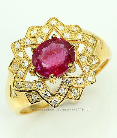 Кольцо серебро 925 позолота натуральный рубин арт. 054