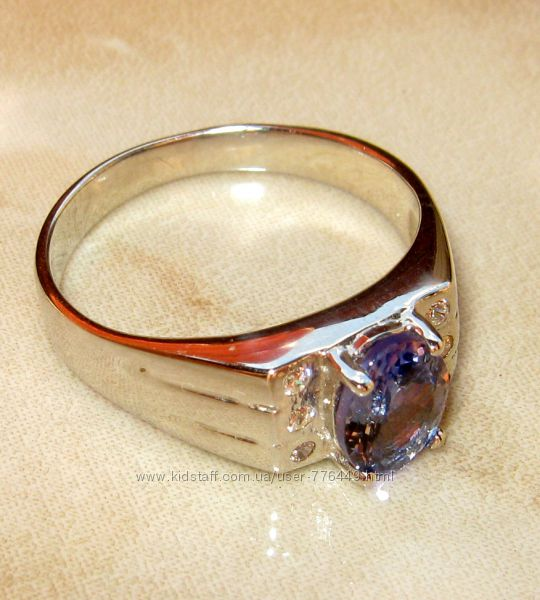 Кольцо серебро 925 позолота натуральный танзанит арт. 058