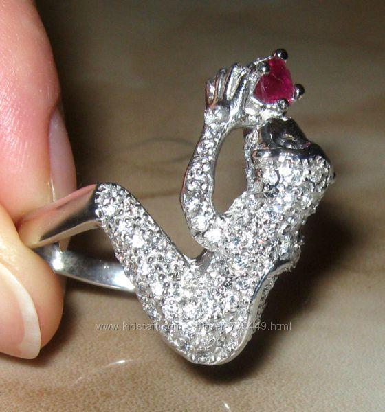 Кольцо серебро 925 позолота натуральный рубин арт. 066