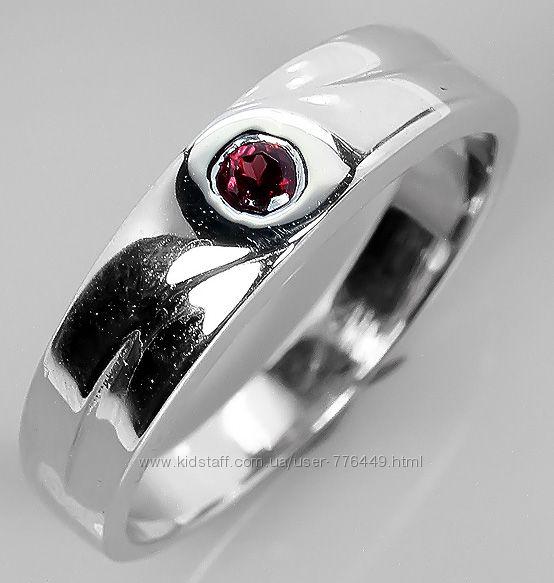 Кольцо серебро 925 позолота натуральный родолит арт. 073