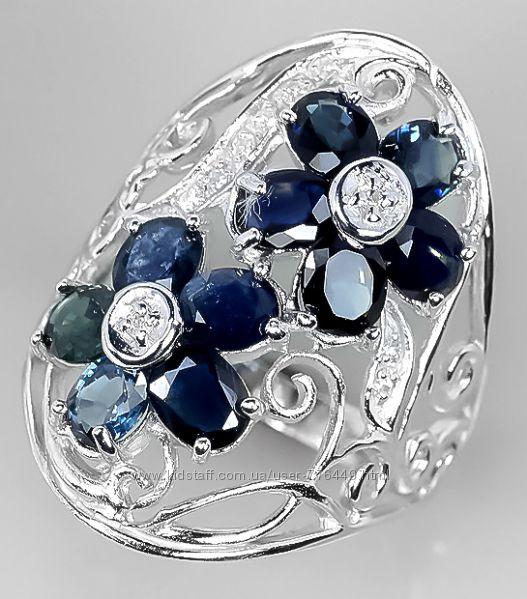 Кольцо серебро 925 натуральные сапфиры арт. 075
