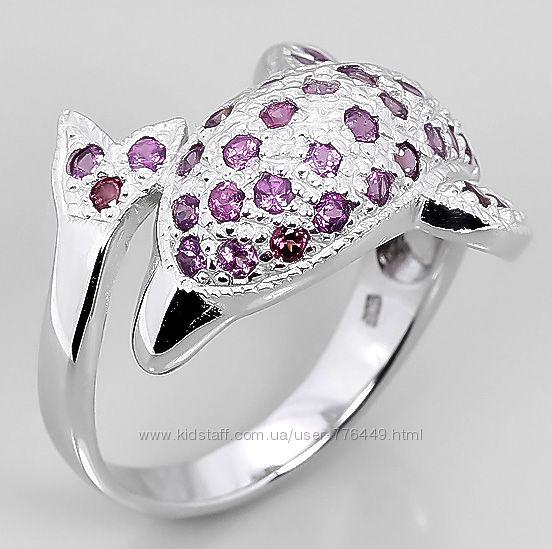 Кольцо серебро 925 натуральный родолит арт. 076
