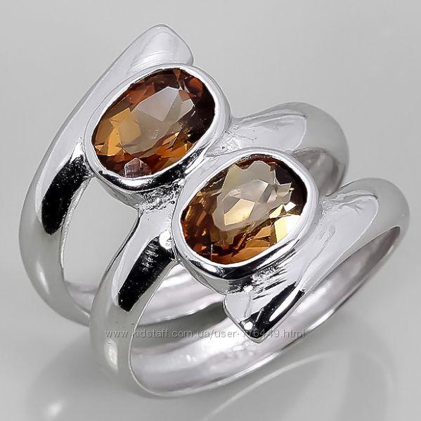 Кольцо серебро 925 позолота натуральные топазы арт. 076