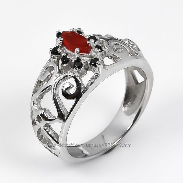 Кольцо серебро 925 натуральный карнелиан арт. 101