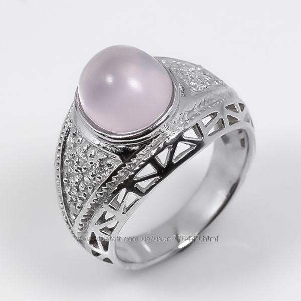 Кольцо серебро 925 позолота натуральный розовый кварц арт. 121
