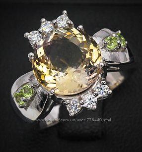 Кольцо серебро 925 с натуральными аметрином и оливинами арт. 015