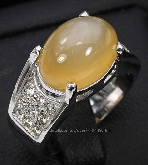 Кольцо серебро 925 позолота с натуральным адуляром арт. 016