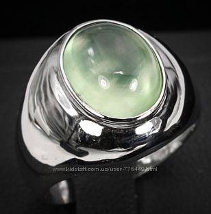 Кольцо серебро 925 позолота с натуральным пренитом арт. 020