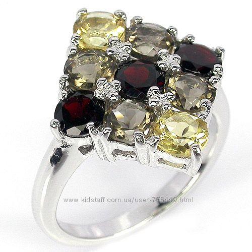 Кольцо серебро 925 позолота с натуральными камнями арт. 021