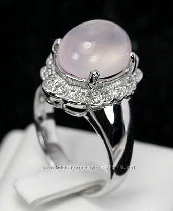 Кольцо серебро 925 с натуральный розовым кварцем арт. 036